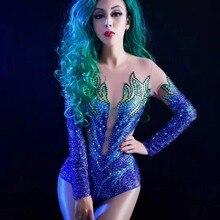 78f4a812aa Buy blue rhinestone bodysuit and get free shipping on AliExpress.com