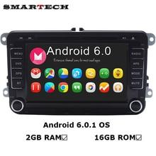 VW Радио 2 г Оперативная память Android 6.0 4 ядра dvd-плеер автомобиля стерео Navi для VW Skoda Поло Гольф Passat CC jetta руль 3 г WI-FI