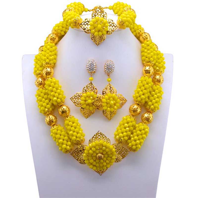 Luxury Gold-color African Beaded Jewelry Set Yellow Nigerian Wedding Crystal Beads Necklace Set Free Shipping цена и фото