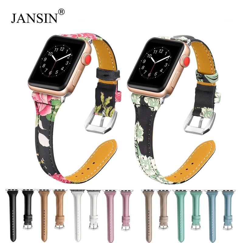 e02c9592083 JNASIN Genuíno faixa de relógio Pulseira de Couro Para A Apple 44 40 38  42mm mm mm mm watch band para iwatch série 4 3 2 1 pulseira mulheres