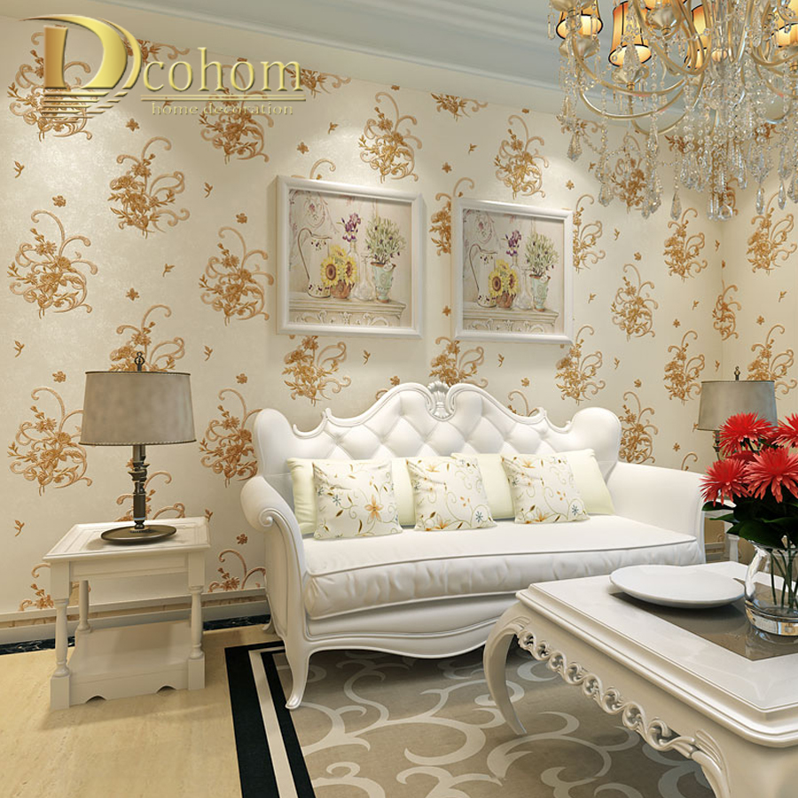 Simple Cozy Pastoral Flower 3D Wallpaper For Walls Decor Embossed European Style Home Wall paper Rolls For Bedroom Living room modern wallpaper for walls black white leaves pattern bedroom living room sofa tv home decor luxury european wall paper rolls