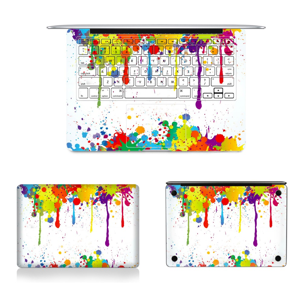 Top Bottom and Keyboard Side Stickers Laptop Full Vinyl Decal Colorful Pigment Skins For Macbook Air Retina Pro 11121315 colorful laptop sticker decal skins for macbook 11 13 15 17 inch sticker for mac book rainbow logo free shipping new arrival