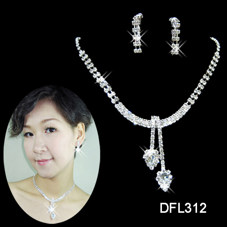 A046 New Neckace earrings Jewelry sets Rhinestone Crystal Wedding Bride Party For Women Wholesale Gifts B10 ABC