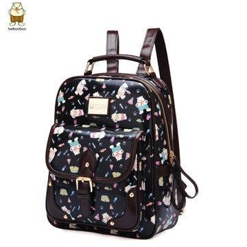 Back pack kpop fashion brand pu cute cartoon printing backpack ...