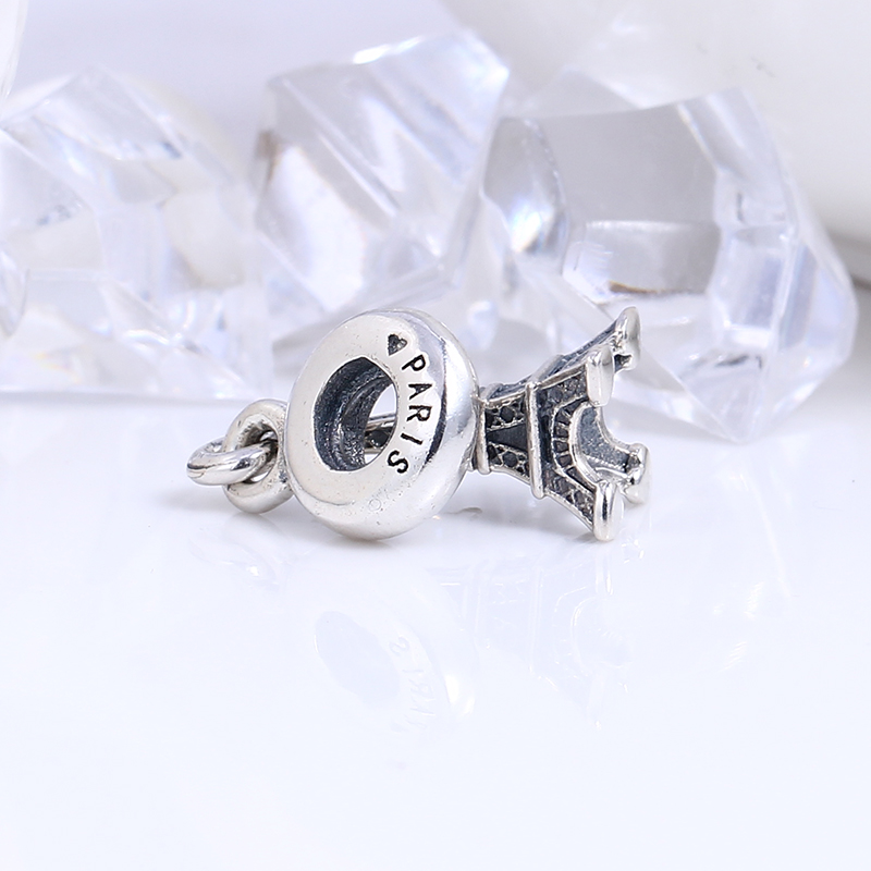 100% Authentic 925 Sterling Silver Eiffel Tower Charm Beads Fit Pandora Charms Beads Bracelet DIY Original Silver Jewelry Making