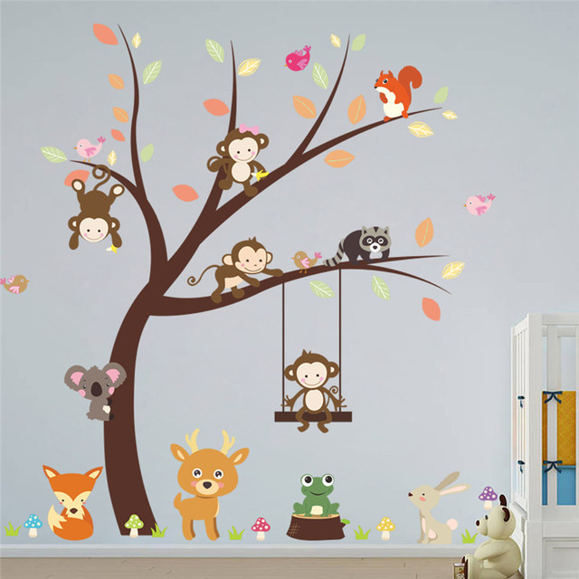 jungle wild animals monkey bird tree wall sticker for kids rooms tv