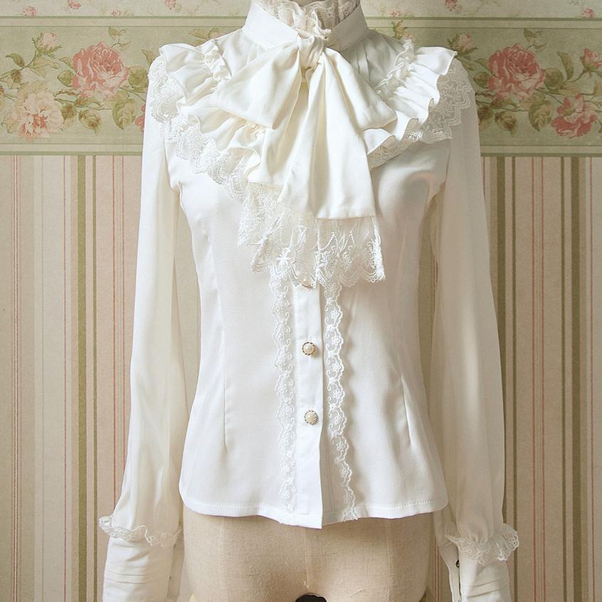 Discount promotion Autumn 2017 new fashion brand Lolita mori girl cute blouse chiffon Slim lace bow shirt w1965 free shipping