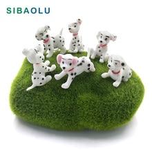 Spotted hund Figur Miniatyrdekorasjon mini fe hage dyr statue harpiks håndverk Hjem Car Birthday Cake Decoration TNS050