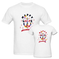 Funny Couple Matching T Shirt Lovely Design Happy Wife Happy Life Summer Short Sleeve T Shirt