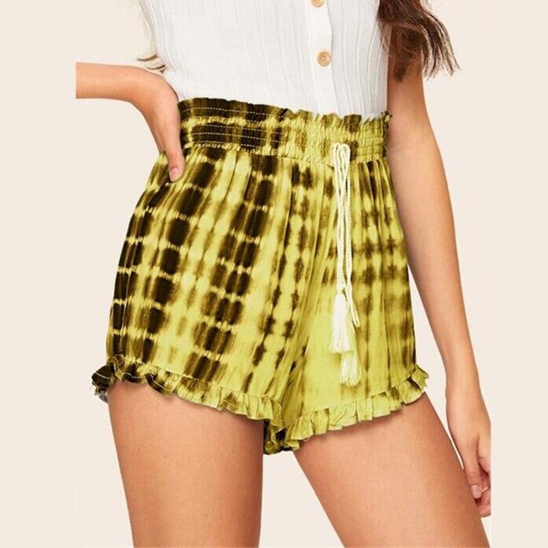 Womens Ladies Summer Ruffles Bohemian High Waist Casual Beach Hot Pants   Shorts