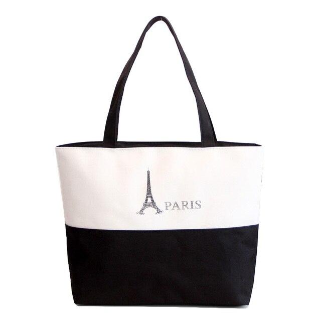Fashion Leisure Character Design Women s Handbag Quality Durable Canvas  Blank Shoulder Bag Plain Black Casual Tote Shopping Bags 2969688ab