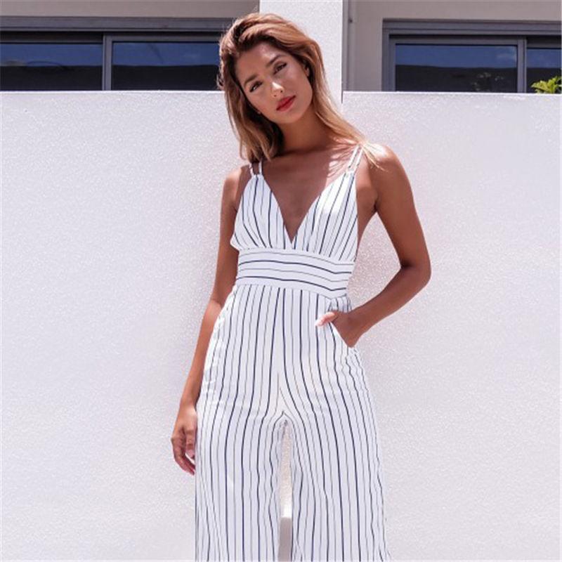 2018 Summer Fashion Formal Sexy Women Ladies Jumpsuit Sleeveless V-Neck High Waist Striped Slim Jumpsuit Size S-XL