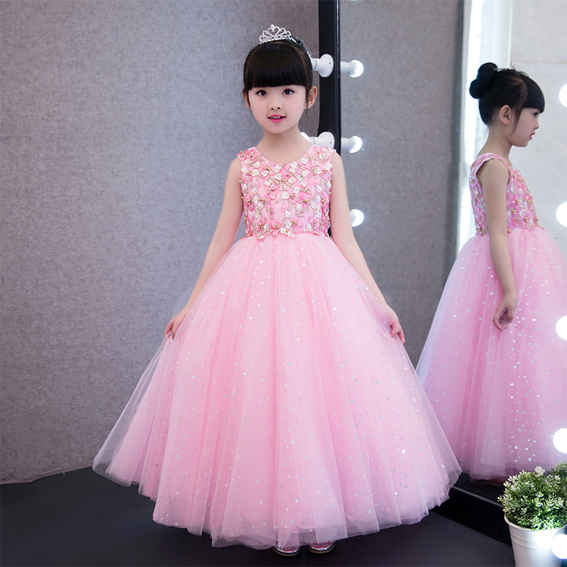2017 New Summer Girls Dress Children's Clothing Party Princess Baby Kids Girls Clothing Wedding Dresses Prom Dress Teen Costume 2017 new girls dresses for party and wedding baby girl princess dress costume vestido children clothing black white 2t 3t 4t 5t