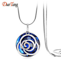 DuoTang Trendy New Arrival Silver Plated Big Crystal Pendant Necklace Fashion Elegant Flower Long Necklace Woman
