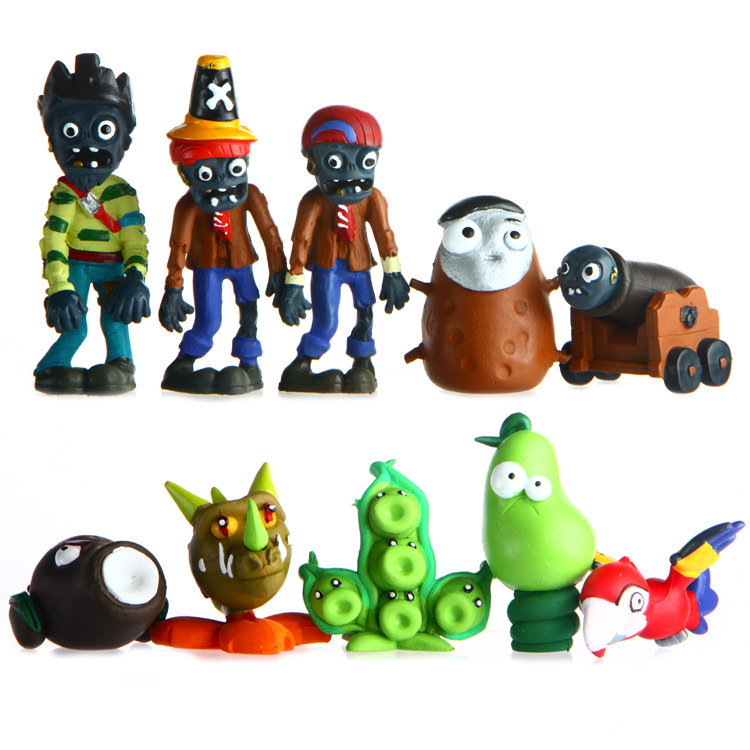 все цены на Promotion ! 10pcs/set 4-8cm Plants VS Zombies PVZ Game Model Collection Figures Plants Zombies Action Figure Toys
