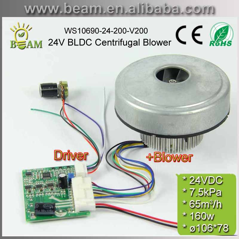 160W 24V 7.5kPa Low Noise High Pressure BLDC Centrifugal motor fan Blower with Driving Controller For Planter or vacuum cleaner