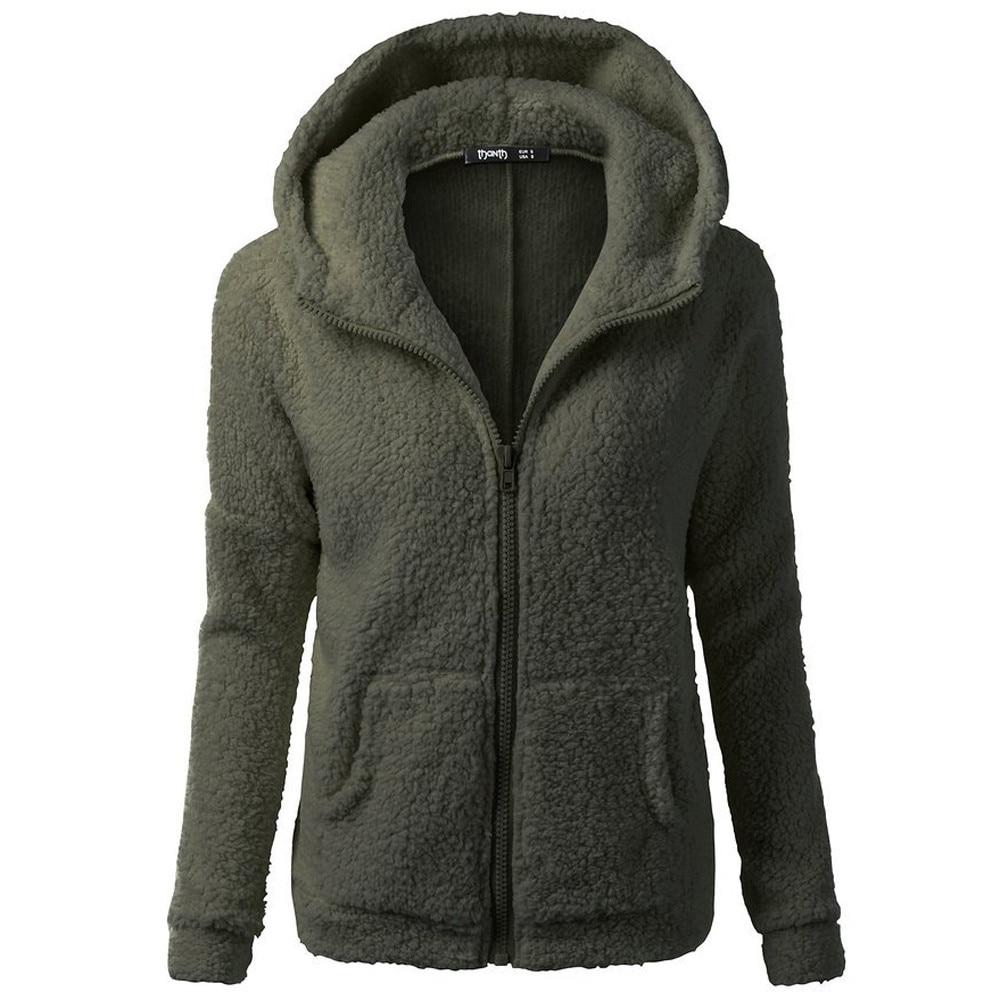 HTB1X9hzXZvrK1Rjy0Feq6ATmVXao Women Solid Color Coat Thicken Soft Fleece Winter Autumn Warm Jacket Hooded Zipper Overcoat Female Fashion Casual Outwear Coat