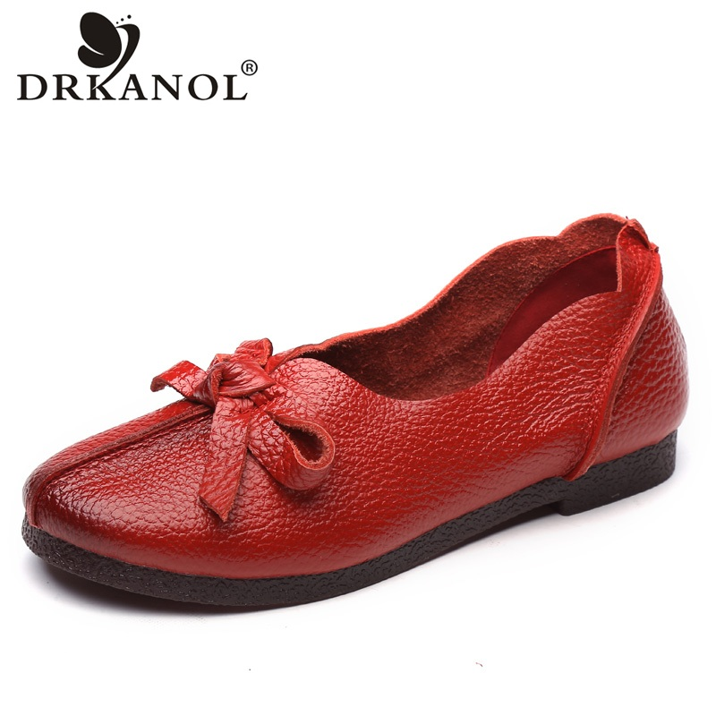 DRKANOL 2018 Spring Autumn Genuine Leather Women Loafers Slip On Flat Shoes Comfortable Soft Bow Tie Flats Women Casual Shoes spring and autumn new 2015 women shoes serpentine surface women flat slip on higher fashion bost shoes comfortable loafers