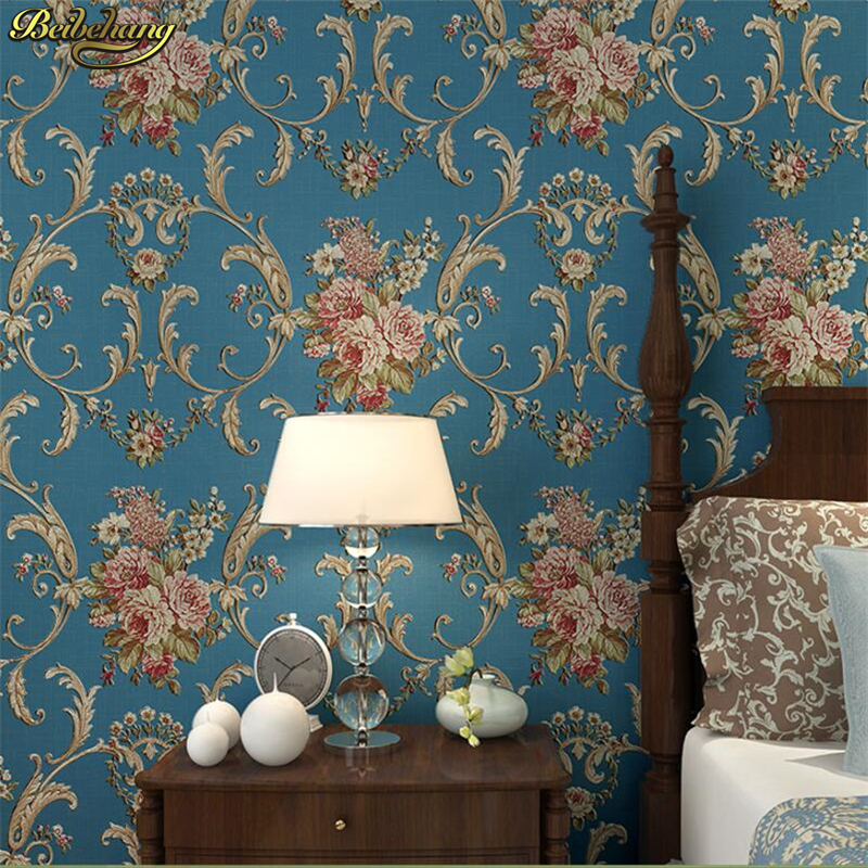 Beibehang américain Village rétro chambre Ab édition papier peint stéréo salon Style européen grande fleur bleu coeurs mur