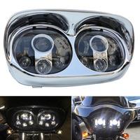 5.75 LED Dual Projector Headlight Led Headlight For Harley Davidson Road Glide 2004 2013 Harley Davidson White Halo Ri