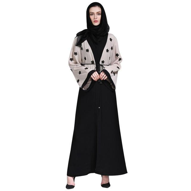 Women Appliques Patch Designs Cardigan Muslim Abaya Islamic Arab