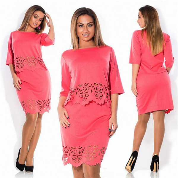 New Summer Women Elegant 2 Piece Set Plus Size O-neck Half Sleeve Women Hollow Out Skirt Suits Office Bodycon Suits