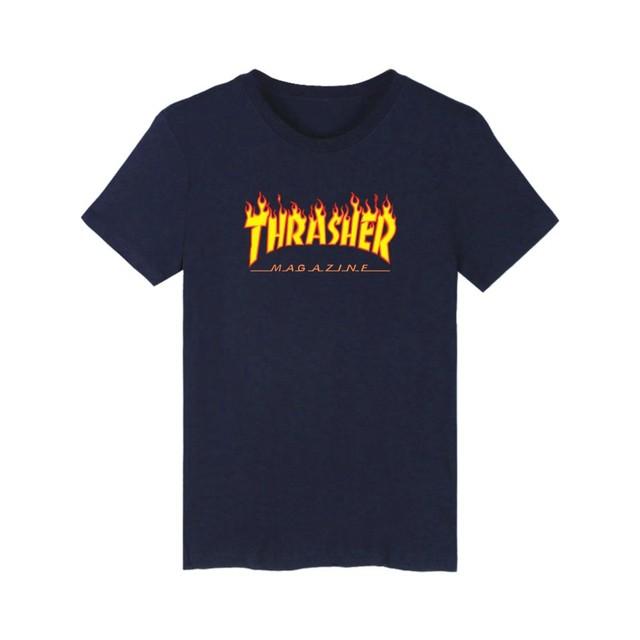 Tamanho europeu Dos Homens T-Shirt Curto Impresso Thrasher Moda Short de Algodão Plus Size Xxl-4Xl Nova Marca Adolescente Solto Tops Z30