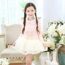 Дети новая мода дизайнер дети платья свитер зимний узор детей одевая детей платья для девочек принцесса пачки платья