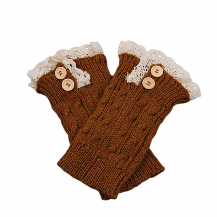 Black Friday VOT7 vestitiy New Women Knit Lace Boot Cuffs Socks Buttons Leg Warmers Accessory Knitted Gaiters,Aug 17