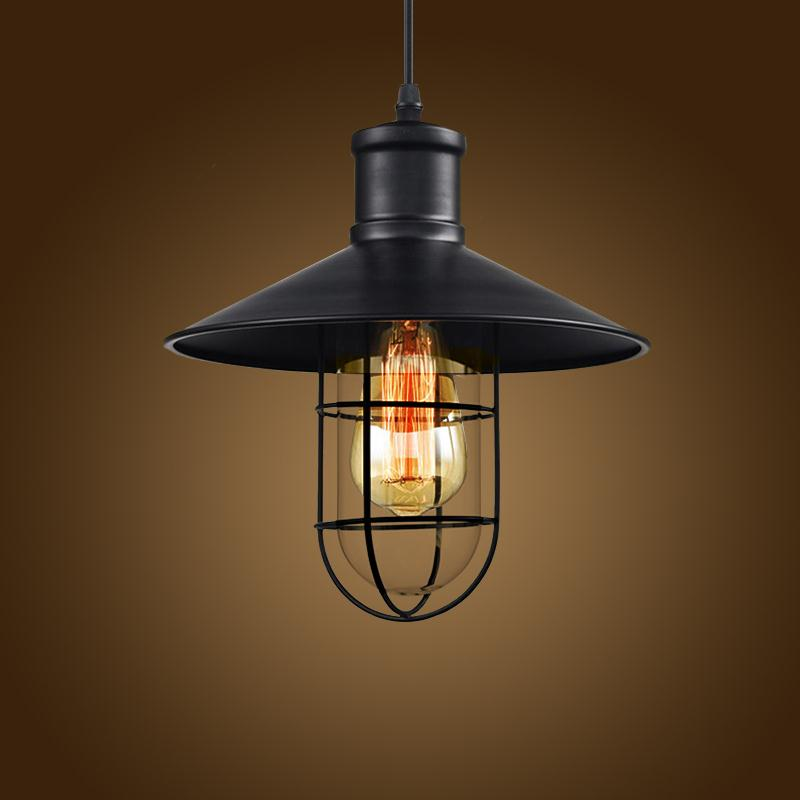 New Loft Vintage Iron Pendant Light Industrial Lighting Glass Guard Design Bar Cafe Restaurant Cage Pendant Lamp Hanging Lights restaurant bar cafe pendant lights retro hone lighting lamp industrial wind black cage loft iron lanterns pendant lamps za10