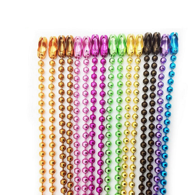 50pcs 2.4mm Ball Beads Chains Bulk fits KeyRing/Key Chain/Dolls/Label hand tag Connector DIY Jewelry 12cm/4.72inch Z579