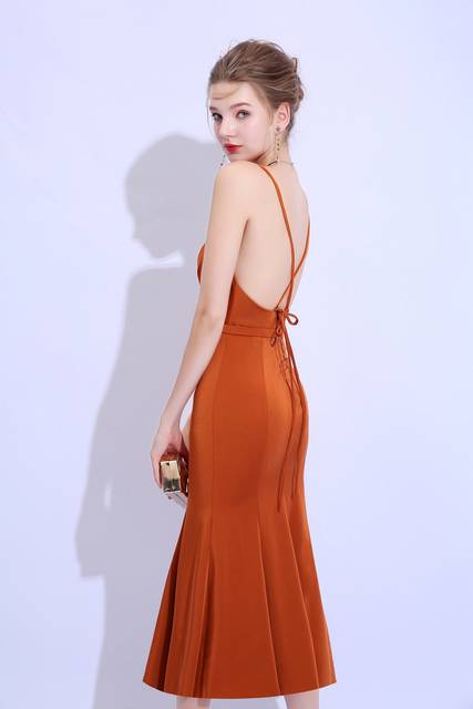 c3f94d286d SSYFashion New Simple Caramel Colour Cocktail Dress Sexy V-neck Backless  Sleeveless Tea-length Party Formal Gown Robe De Soiree