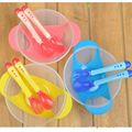 3 unids/lote Formación Alimentación Tazón Tapa del niño del Cabrito Niños Placas de platos con cuchara tenedor Bebé Comedero