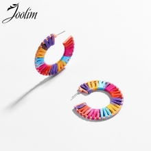 JOOLIM Jewelry Wholesale Colorful Raffie 3 Qauter Hoop Earring Design Earings Summer Holiday Beach