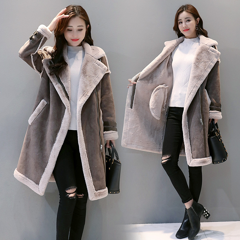 2018 Winter Women   Suede     Leather   Jacket Female Long Lamb Wool Motorcycle Coat Thick Faux Lambs Wool Warm Zip Coat Outerwear