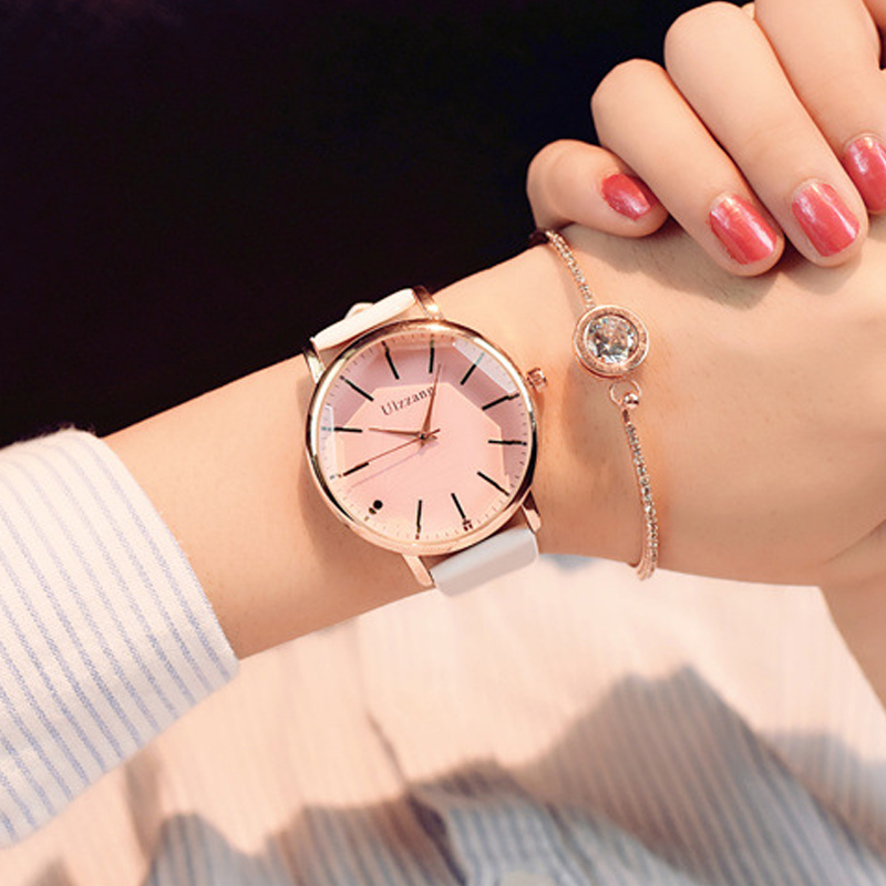 Women Watches Popular Brand Dress Ladies Luxury White Fashion Quartz Ulzzang Polygonal