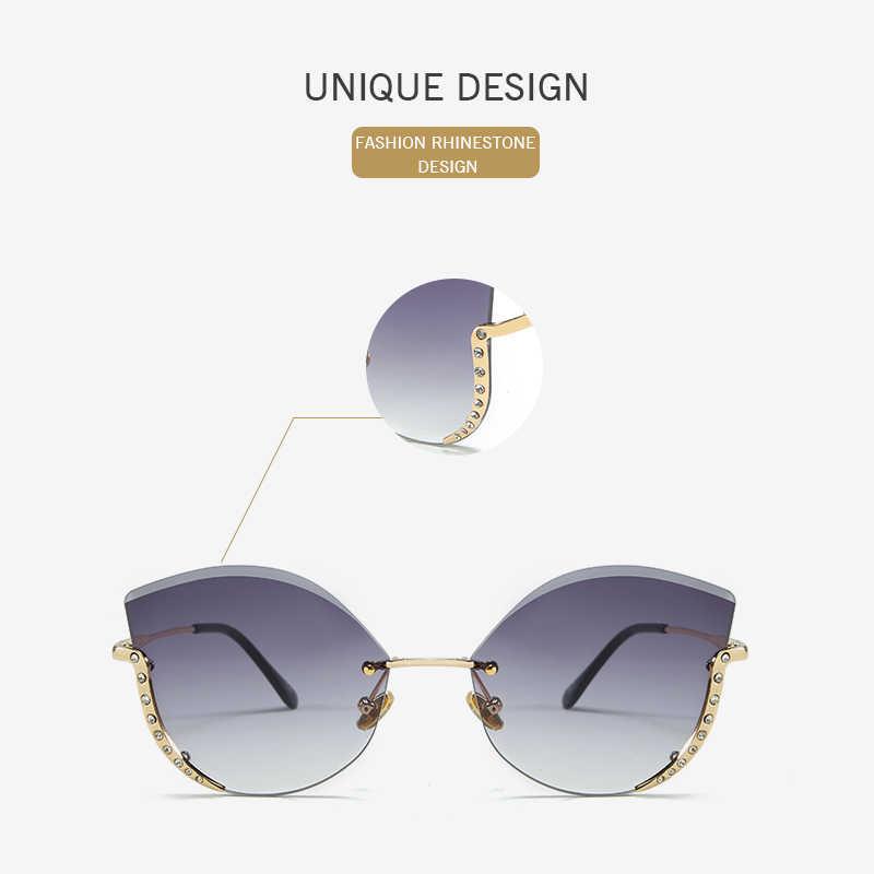 Женские солнцезащитные очки без оправы DENISA, стразы кошачий глаз, UV400, градиентные очки gafas de sol mujer G22073