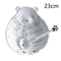 Hand painted Polar Bear Ceramic Bowl Tableware Suit Dishes Dishes Set Creative Ceramics Tableware Combined Household