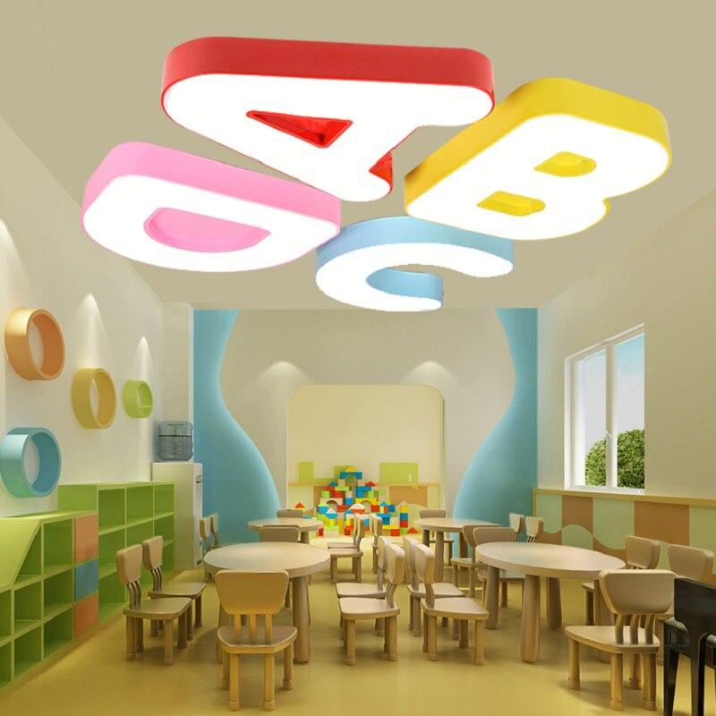US $106.25 15% OFF|Kindergarten früherziehung zentrum klassenzimmer cartoon  led deckenleuchten kreative buchstaben studie lampe kinderzimmer led ...
