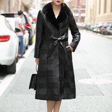 New Womens Genuine Leather Winter Coat With Real Mink Fur Collar Female Natural Sheepskin Coat With Belt Luxury Good Quality(China)