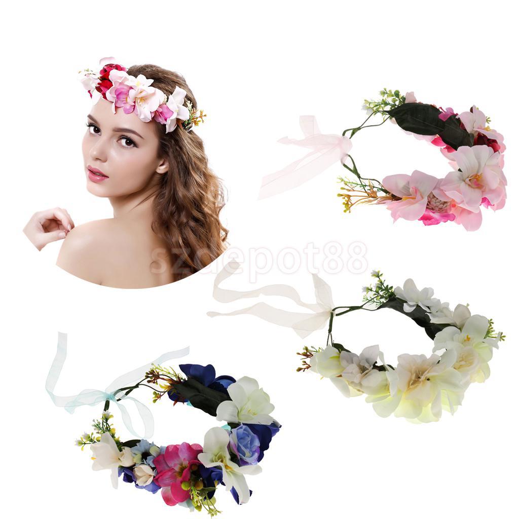 moda muchacha de las mujeres del banquete de boda tocados de adornos para el cabello pelo flor de banda ajustable