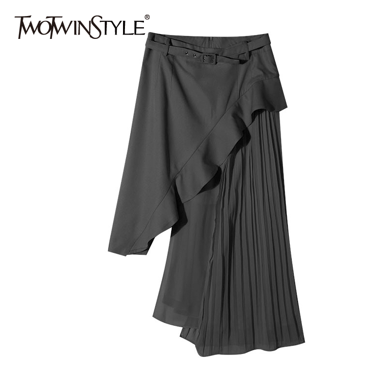 TWOTWINSTYLE Sashes Skirt For Women High Waist Patchwork Ruffles Pleated Irregular Long Skirts 2018 Summer Fashion OL Clothing