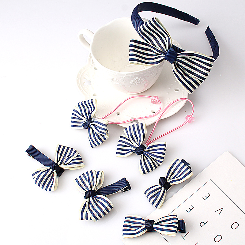 M MISM 7Pcs/Set Bow Knot Striped Elastic Band Hair bands Hairgrip For Kids Girls Hairpins Hair Accessories Set Hair Hoop Gift m mism new lovely cute dot bow knot hair combs hair clip for children girls kids hairpins hair accessories ornaments hairgrip