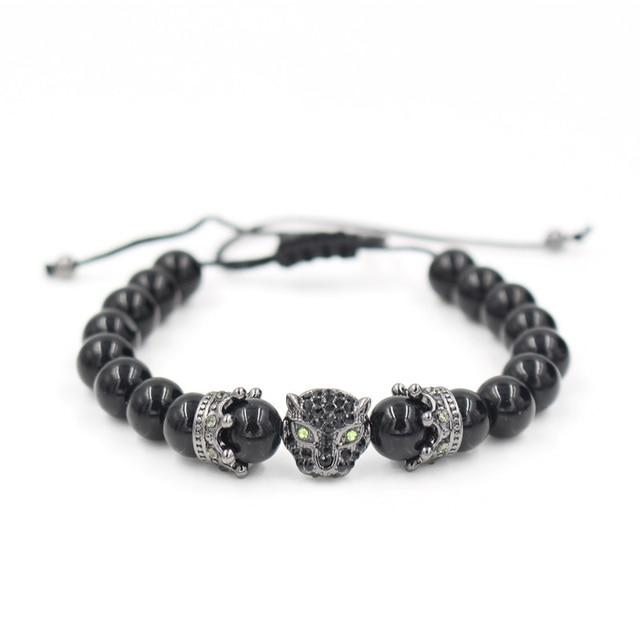 Bracelet A La Mode De Pierre De Lave Noir