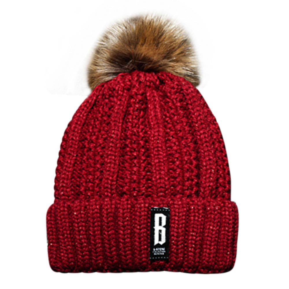 53eb1b92780 ... Women Warm Hats Real Fur Pompon Hat Double Lining Big Raccoon Pom Pom Gorros  Female Knitted ...