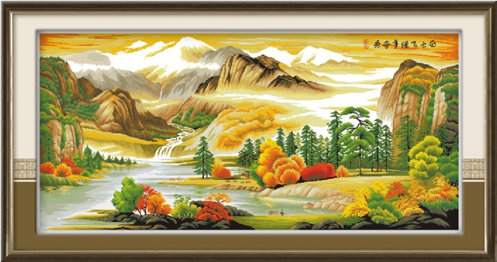 Beautiful landscape(2) cross stitch kit Chinese river aida fabric 14 11ct hand embroidery DIY handmade needlework supplies bag