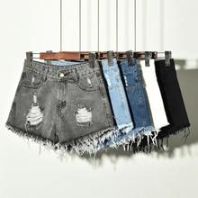 Сексуальные летние джинсовые шорты, женские джинсовые шорты с высокой талией, женские свободные джинсовые шорты с дырками, повседневные шорты с карманами размера плюс S-6XL