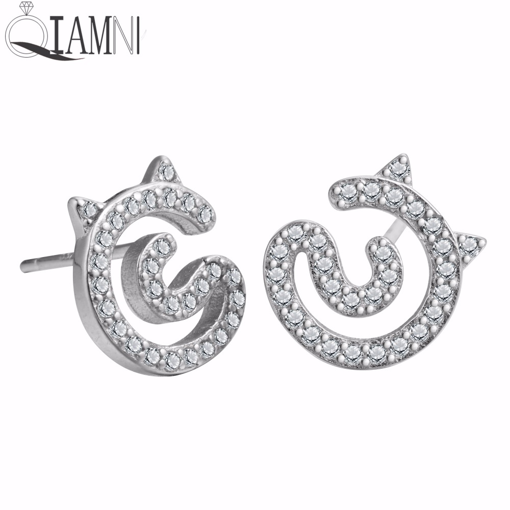 Qiamni 925 Sterling Silver Charming Cute Cat Ear Animal Zircon Stud Earrings  For Women Girls Wedding