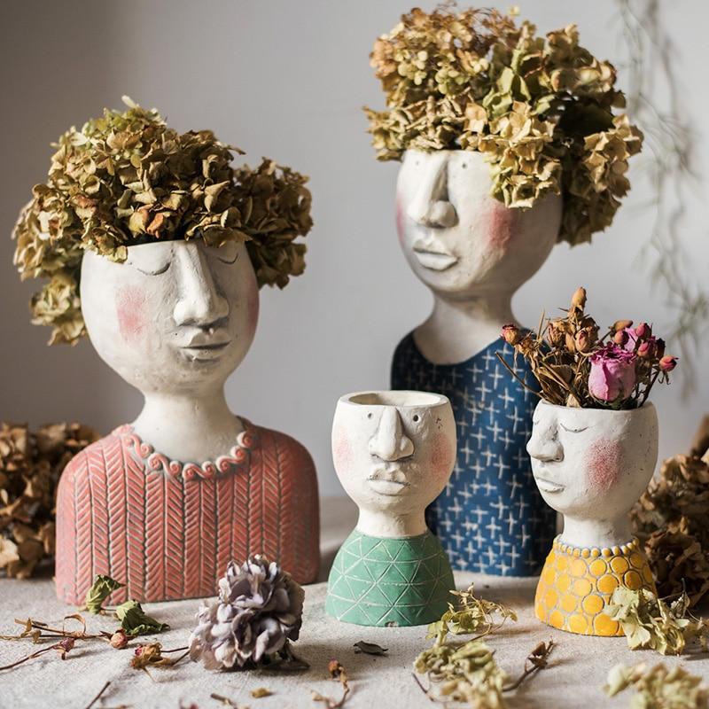 Poète jardin poète maison art portrait sculpture pot de fleur fleur jardin décoration