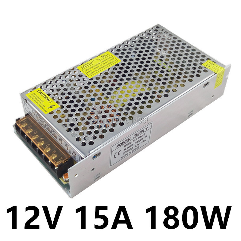 Best quality 12V 15A 180W Switching Power Supply Driver for LED Strip AC 100-240V Input to DC 12V 1200w 12v 100a adjustable 220v input single output switching power supply for led strip light ac to dc